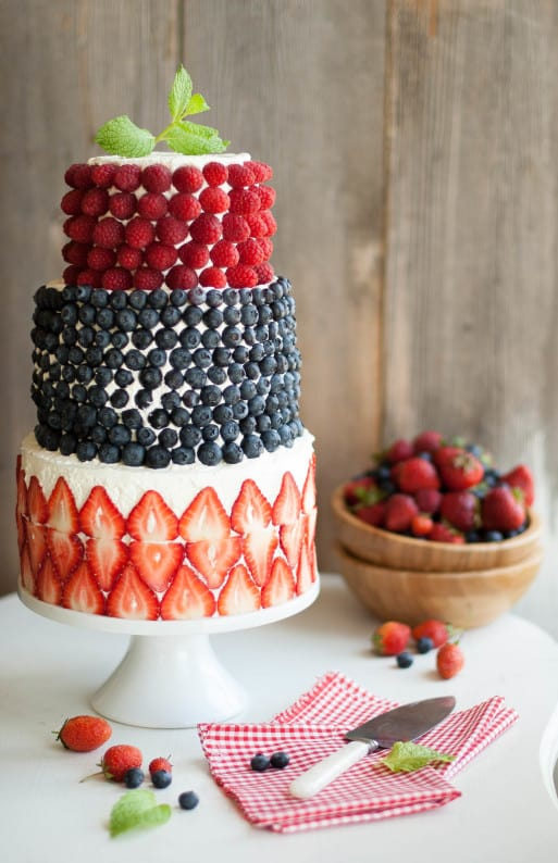 Colourful berry covered cake