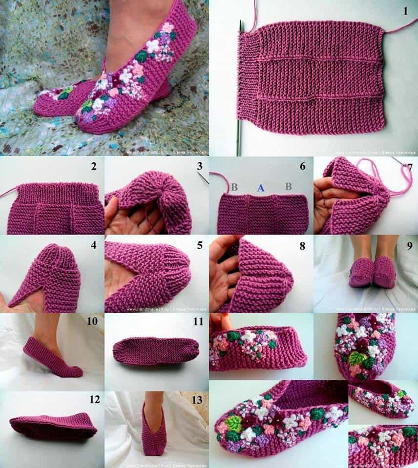 Diy knit lilac slipper tutorial