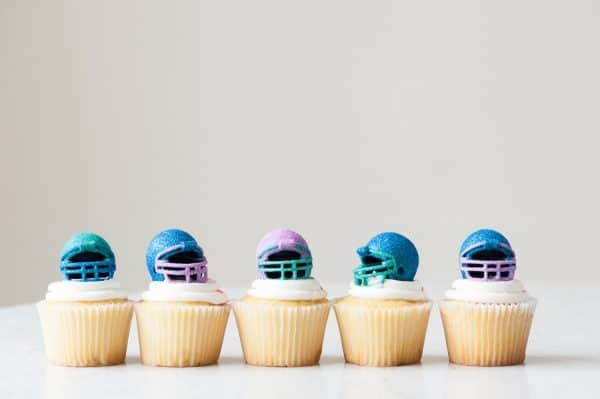 Diy edible glitter football helmet cupcakes
