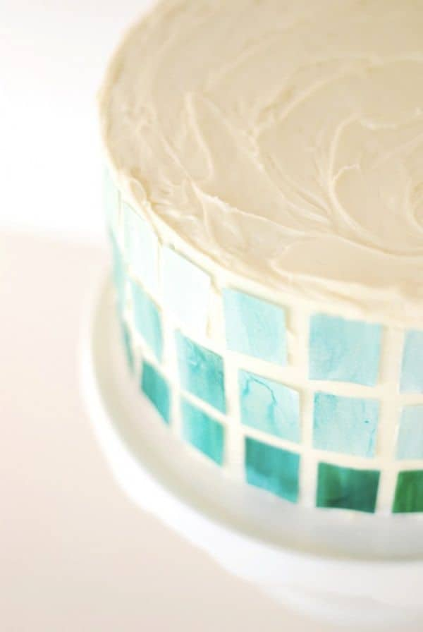 Diy ombre mosaic cake