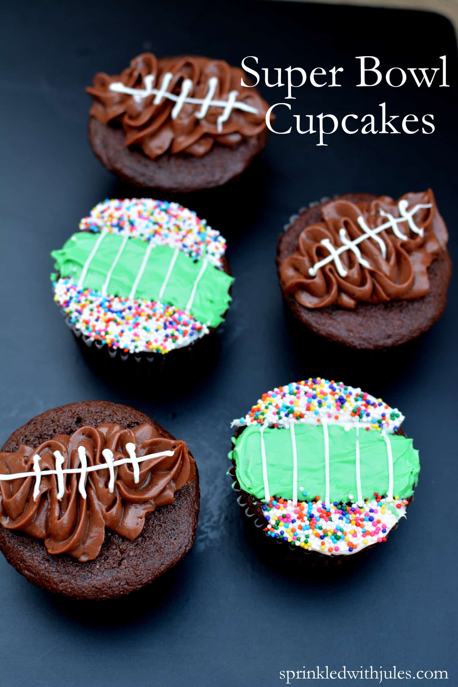 Football and field cupcakes