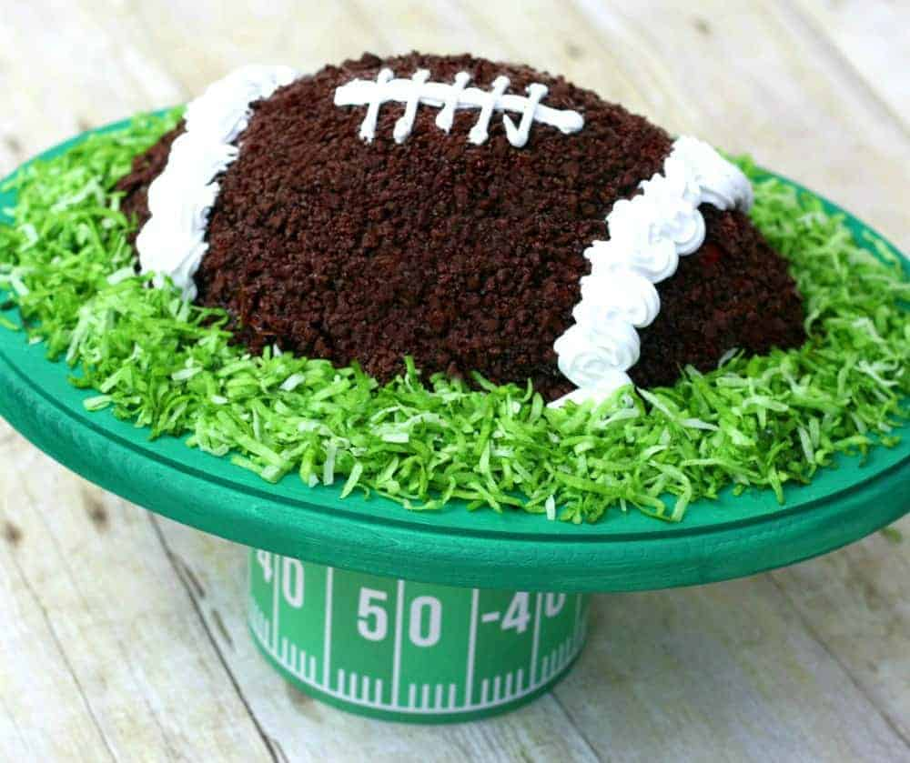 Football cake and field theme stand