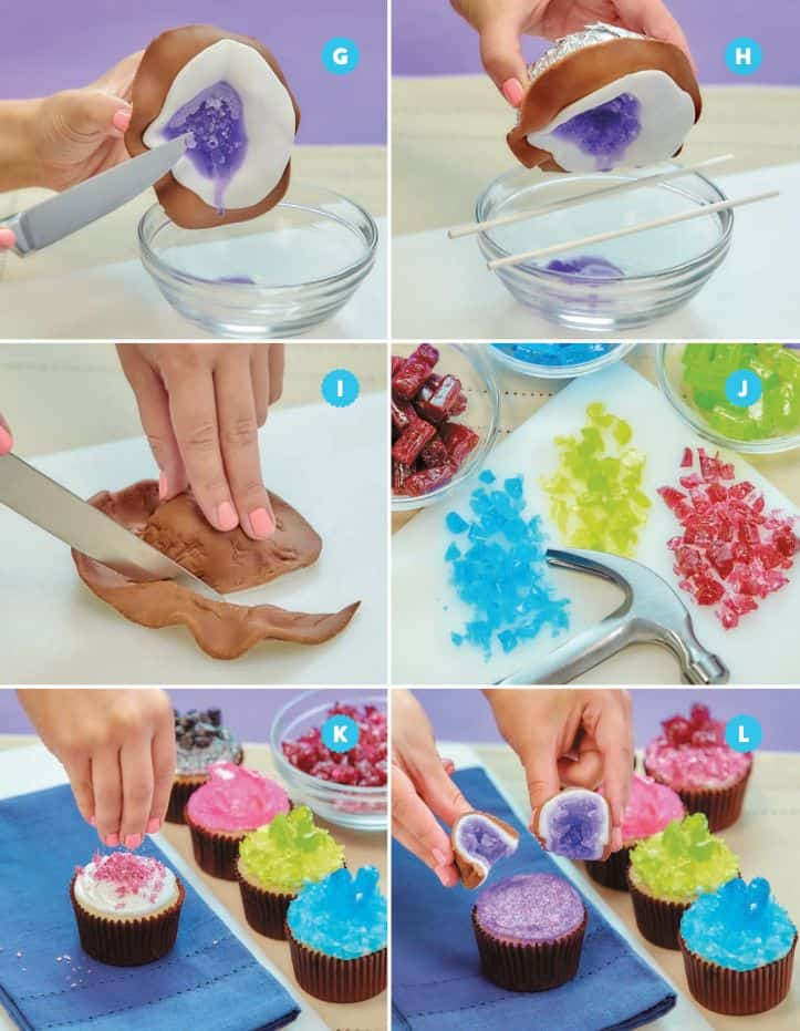 Geode candy cupcakes