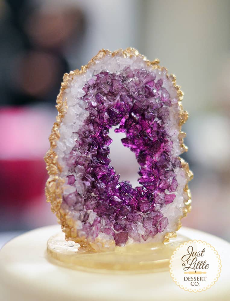 Geode rock candy cake toppers