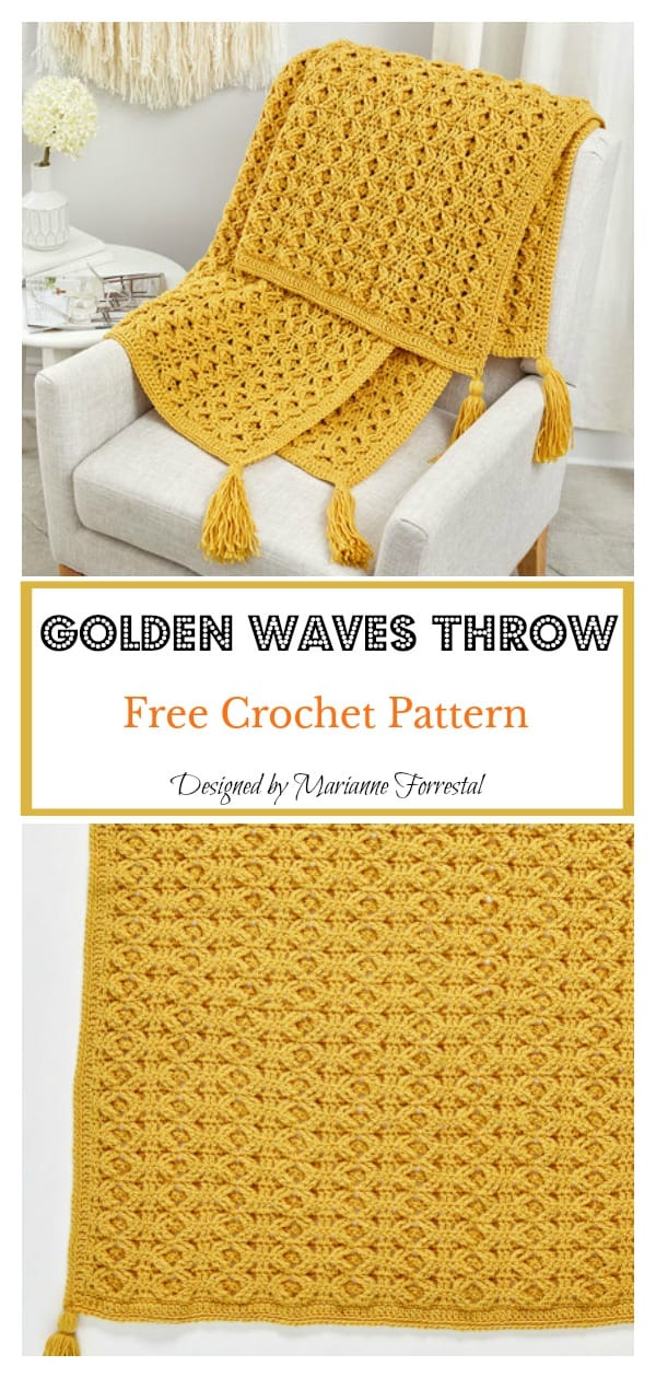 Golden waves throw free crochet pattern