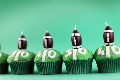 Green yardline cupcakes
