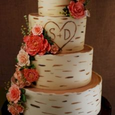 Hand painted birchwood and carved letters cake
