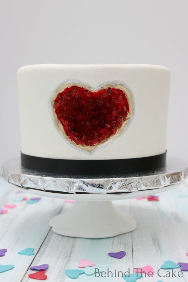Heart shaped geode cake