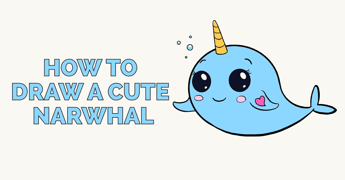 How to draw a cute narwhal