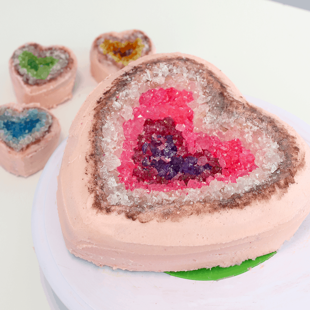 Kid friendly geode topped heart cakes