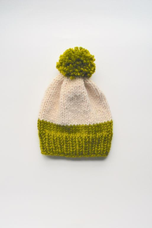 Knit slouchy pom pom hat