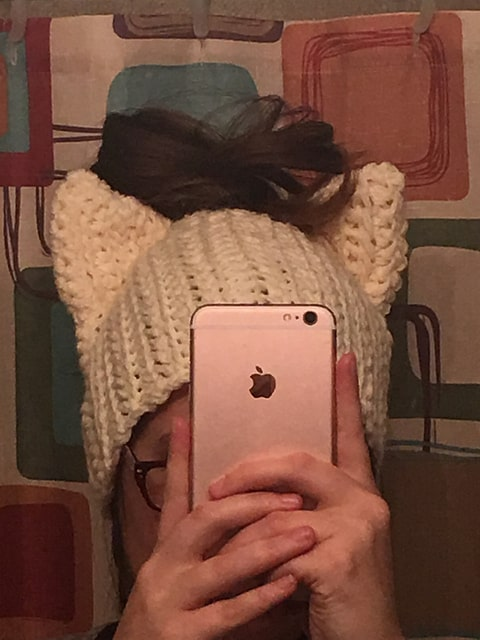 Messy bun cat hat by rebecca renea