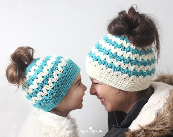 Mommy and me bun hats