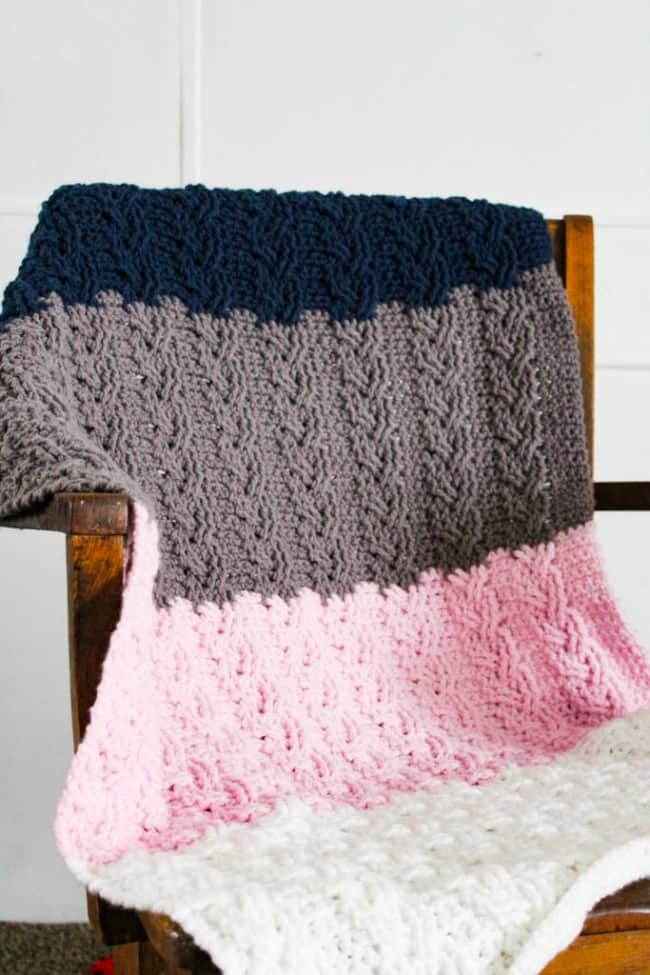 Neapolitan french braid cable blanket
