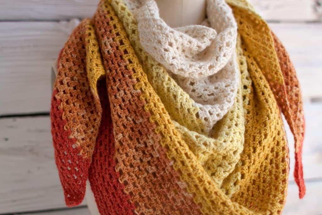 Ombre granny stripe shawl