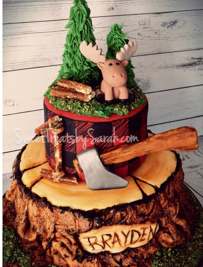 Painted detail lumberjack cake
