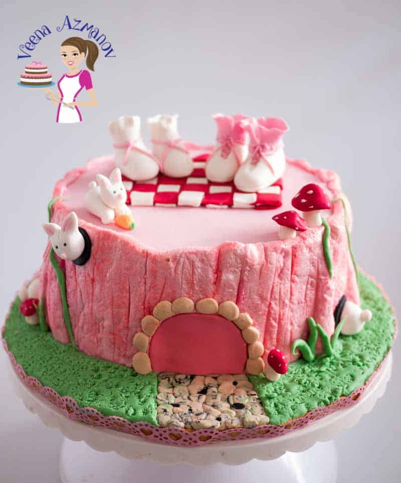 Pink fairy tree stump cake