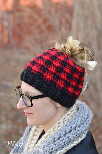 Plaid pnaytail hat by bethany dearden