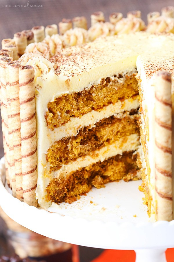 Pumpkin layer cake with kahlua, espresso, and tiramisu filling and mascarpone frosting