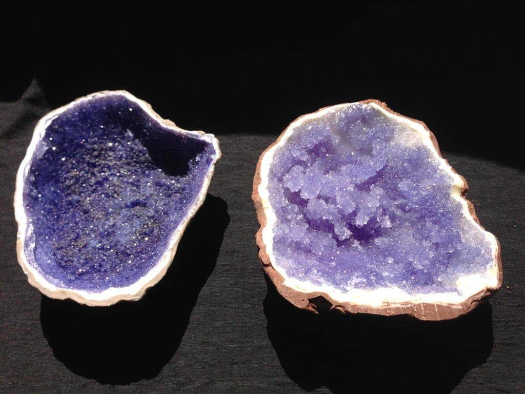 Realistic halved geode cake art