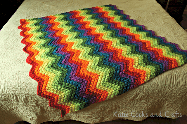 Rumpled rippled rainbow baby afghan