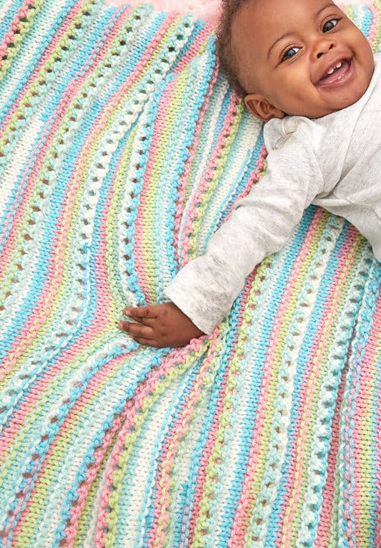 Self striping baby blanket
