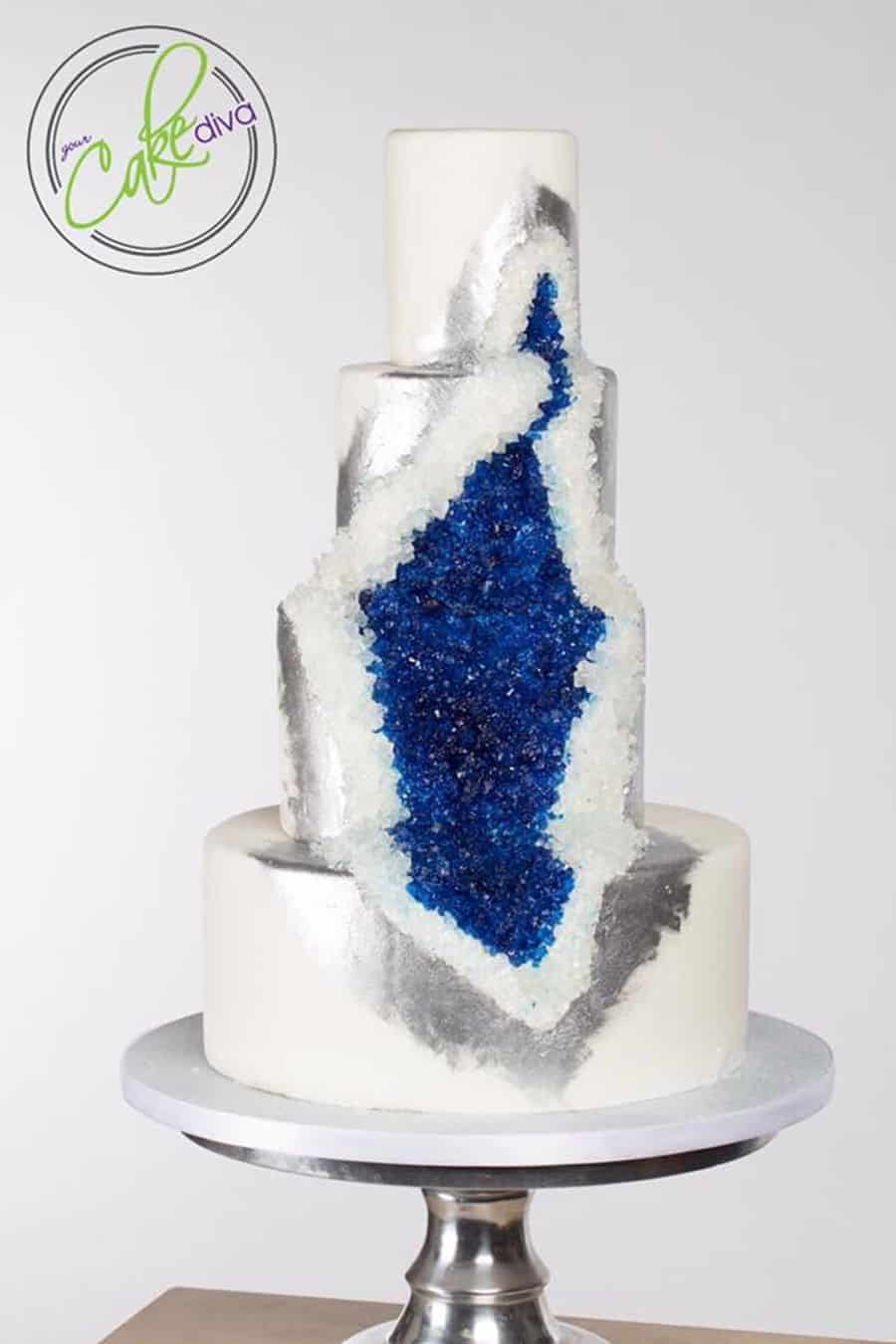 Silver and blue large geode in a cake