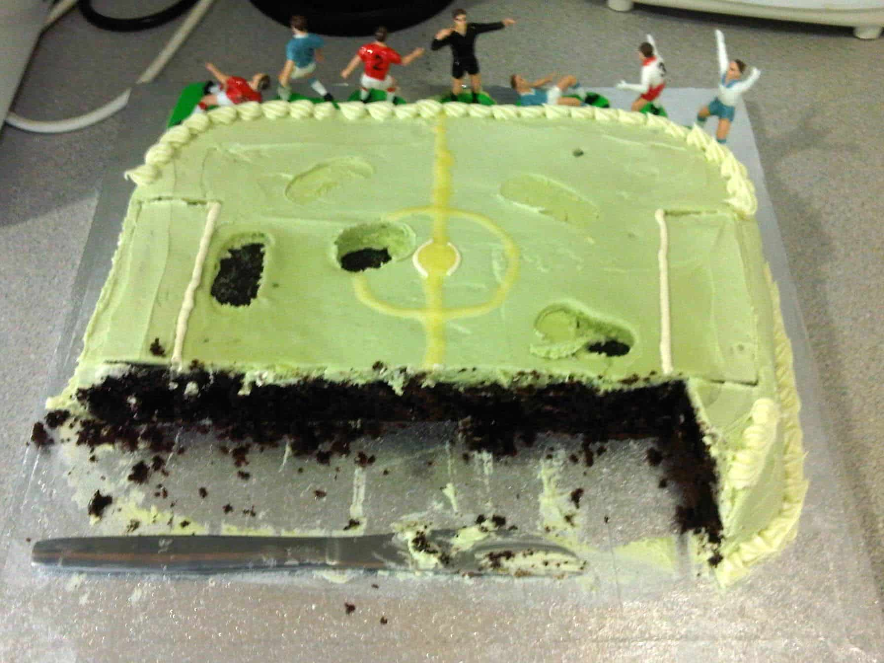 Simple football pitch cake with figurines