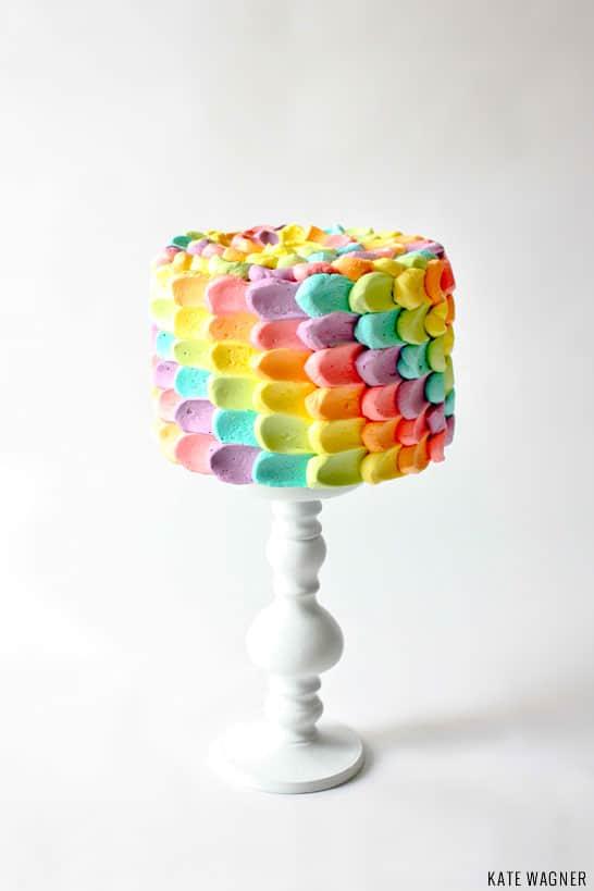 Simple rainbow petal cake