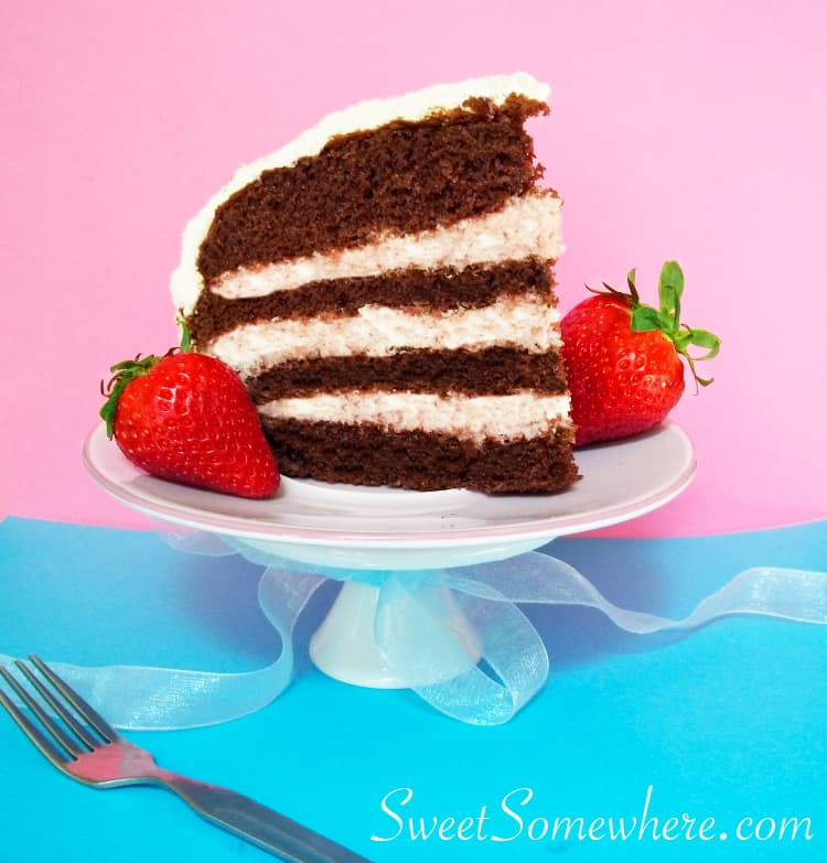 Spring layer cake with strawberry mousse filling