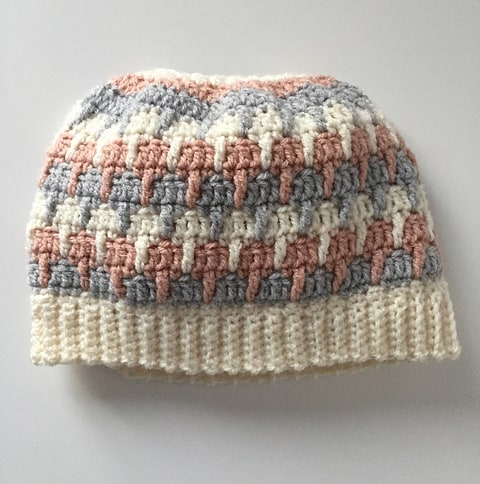 Three colour ponytail hat