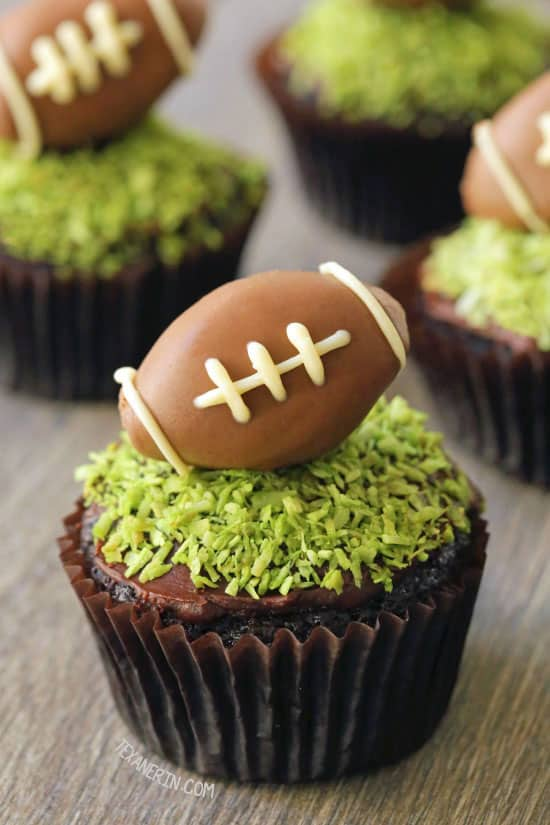 Vegan, dairy free chocolate and coconut football cupcakes