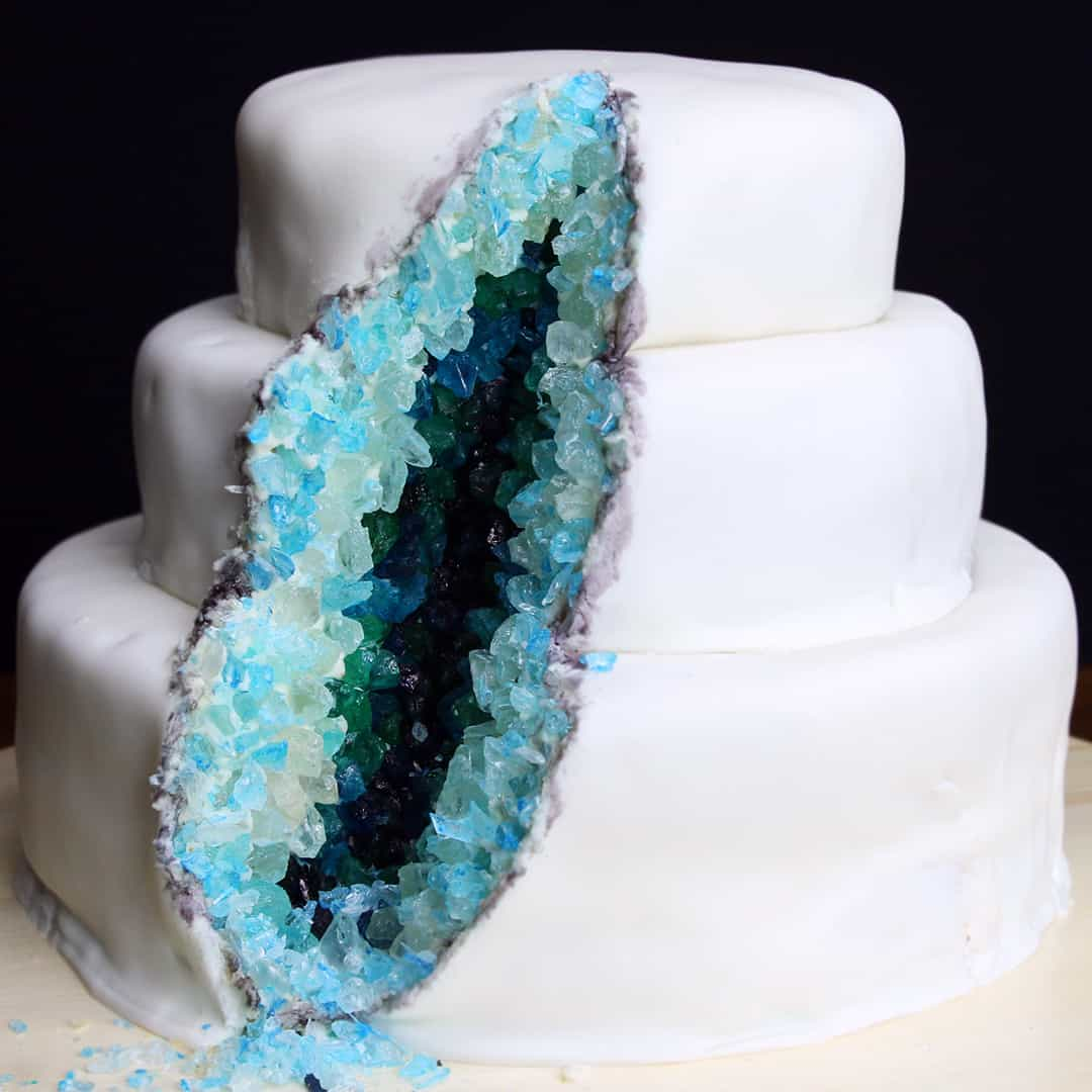 White and teal ombre geode cake