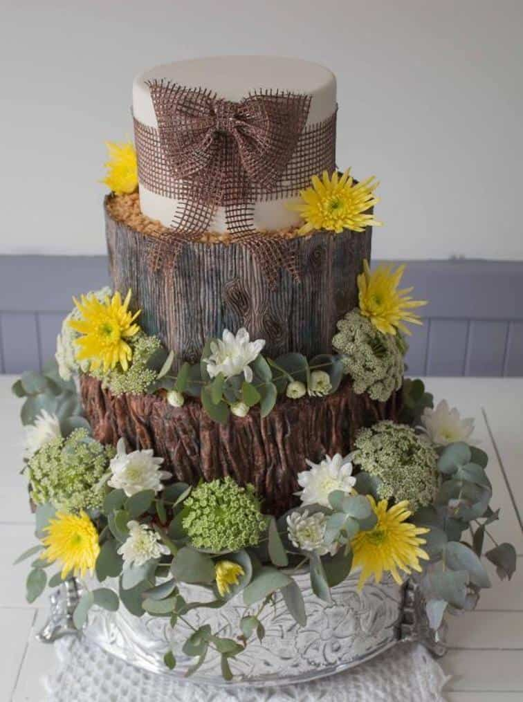 Wood, flower, and burlap cake