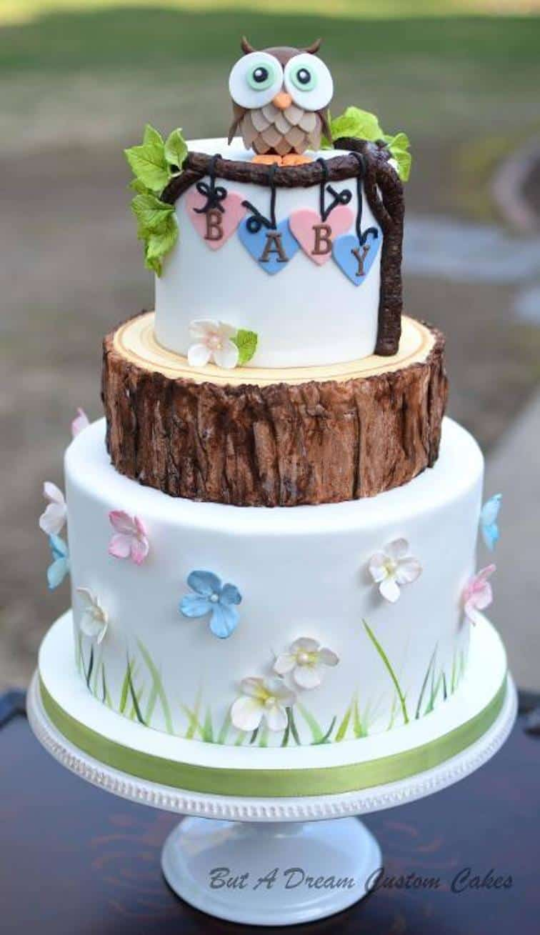 Woodland baby shower cake with an owl