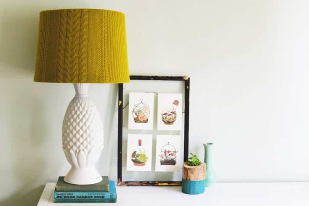 Cable knit lampshade sewing project