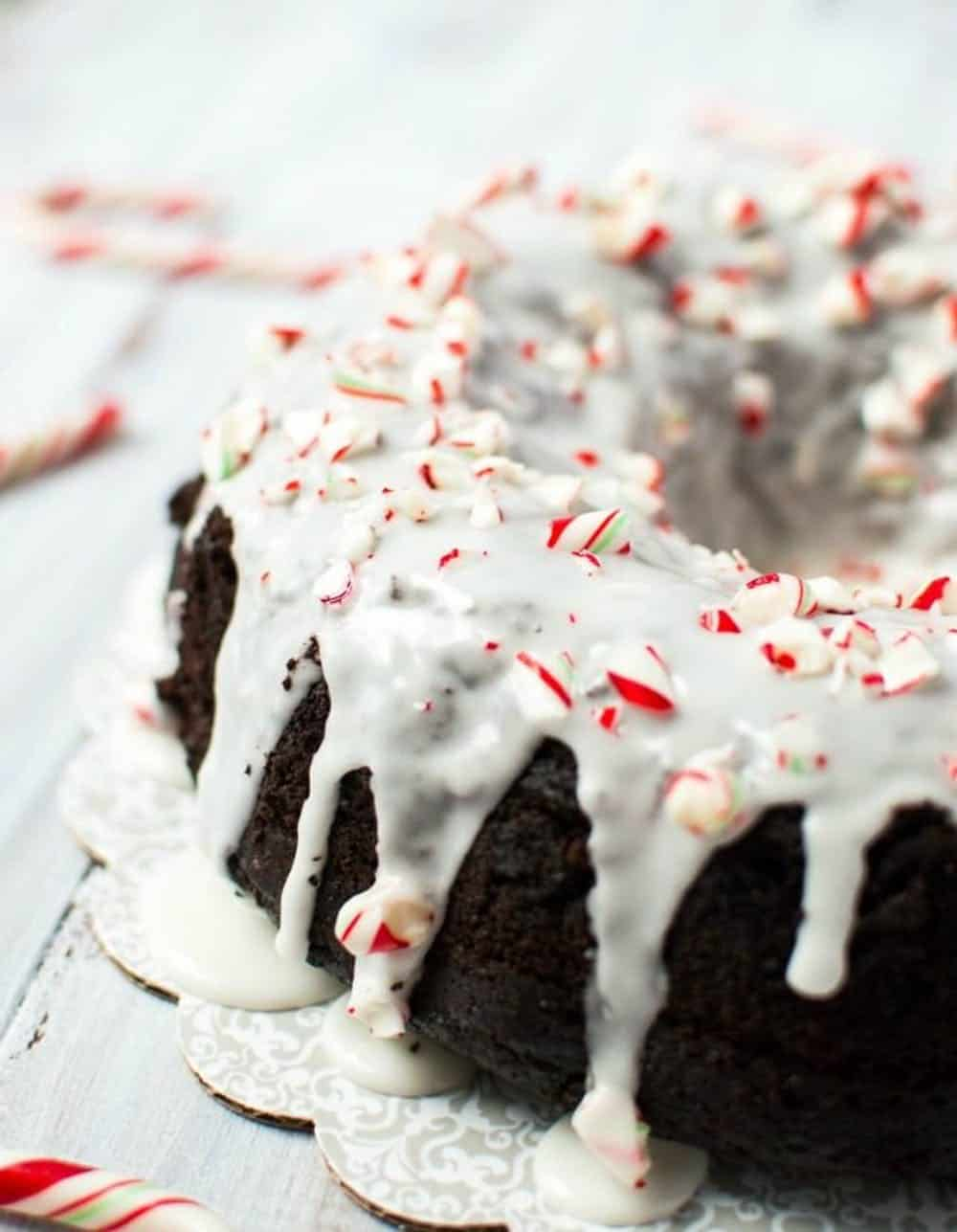Chocolate candy cane bundt cake