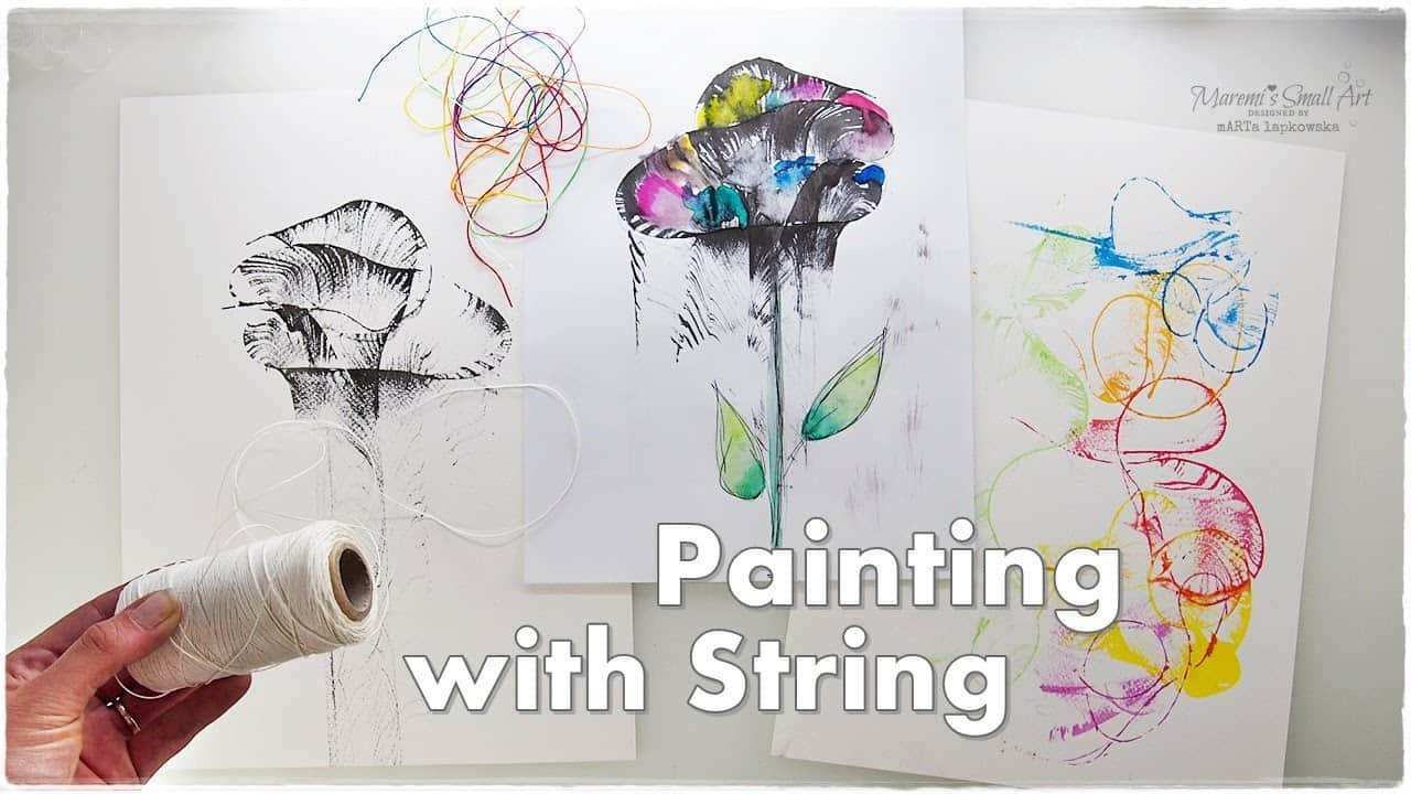 Adding flower stems to string art