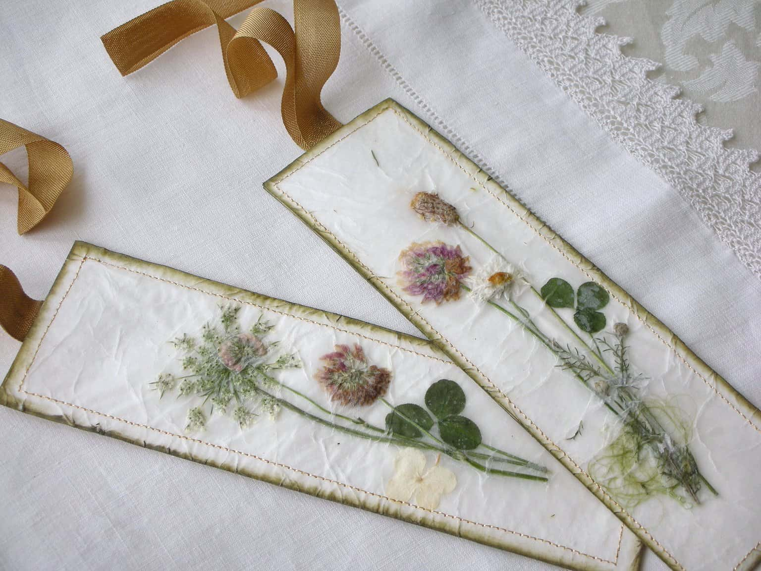 Antiqur inspired pressed flower bookmark