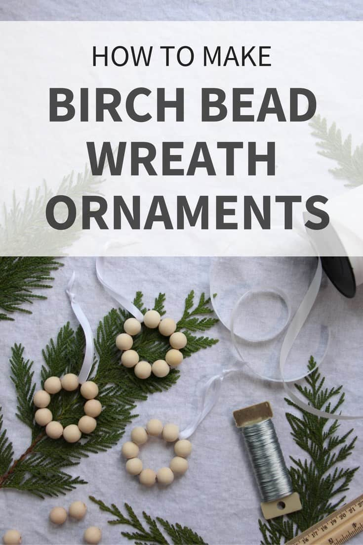 Birch bead wreath ornament