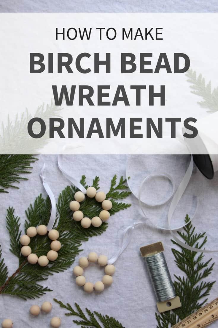 Birch bead wreath ornament