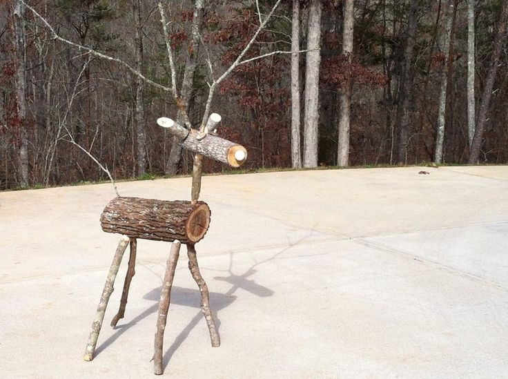 Branch and log lawn reindeer