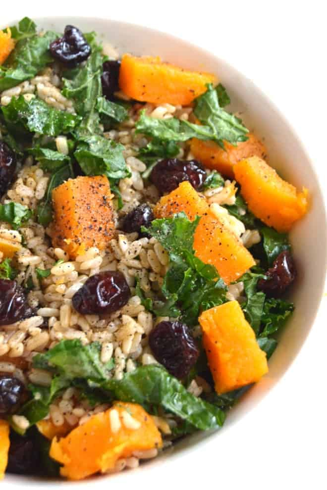 Butternut squash, kale, and cranberry rice