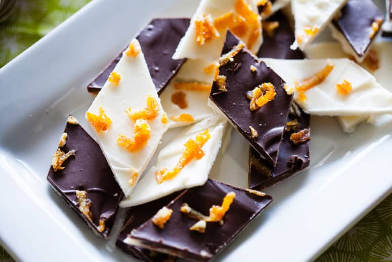 Candied orange peel bark