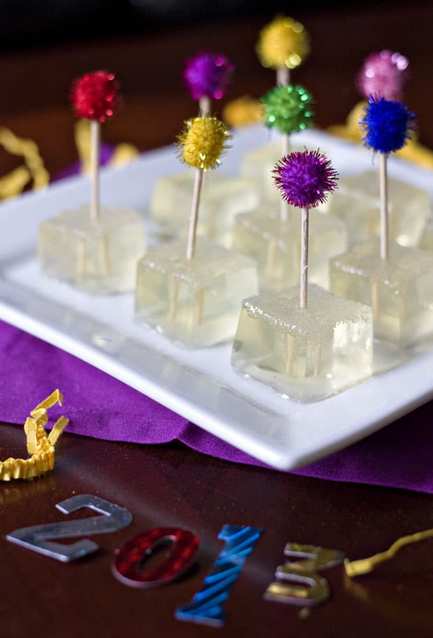 Champagne jell o shots with sparkling toppers
