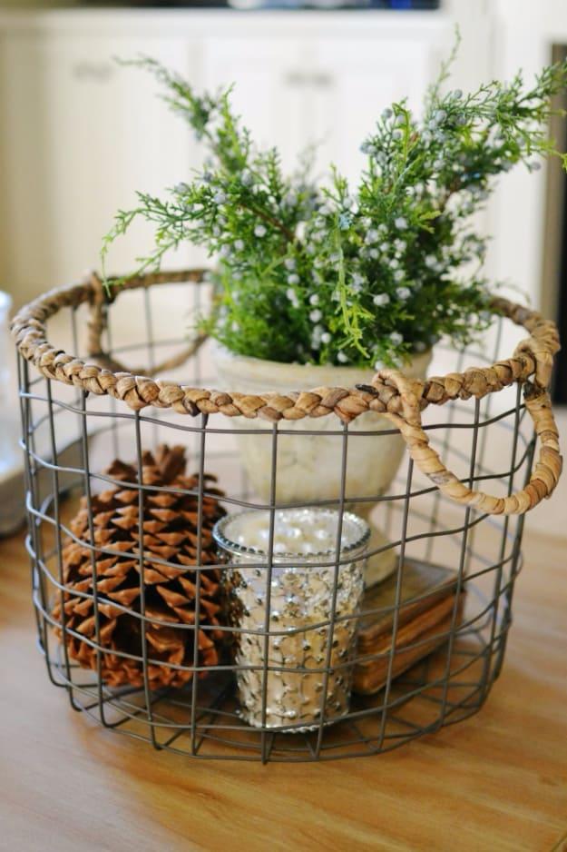 Chicken wire basket christmas decor