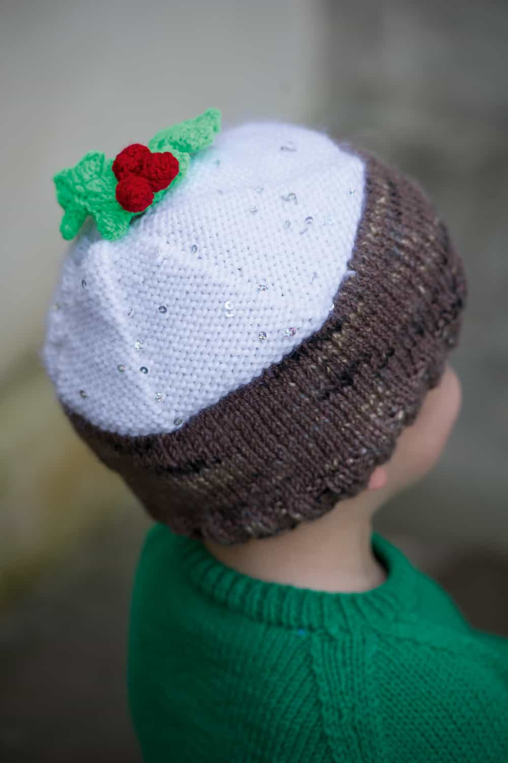 Christmas pudding knitted hat