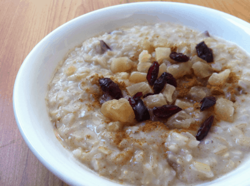 Coconut pineapple cranberry rice pudding