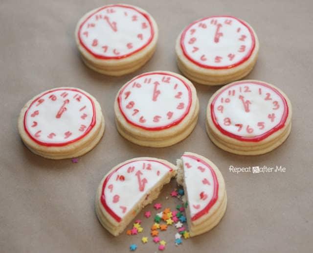 Confetti clock cookies