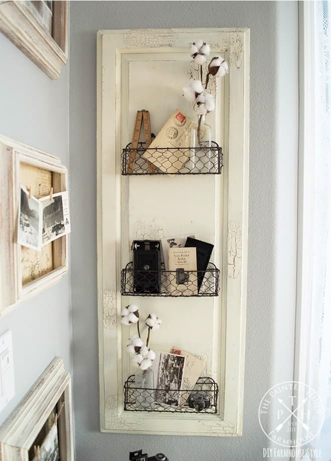 Diy farmhouse style chicken wire basket shelf 5 1
